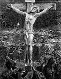The Crucifixion of Jesus Christ. An engraved vintage illustration image of  The Crucifixion of Jesus Christ, from a Victorian book dated 1881 that is no longer Stock Image