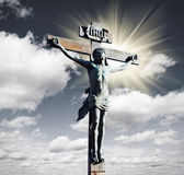 Crucifixion of Jesus Christ in the sky. And the sun Royalty Free Stock Photos