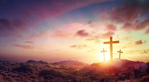 Crucifixion Of Jesus Christ Three Crosses On Hill