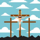 Crucifixion of jesus christ three crosses landscpae. Vector illustration Stock Images