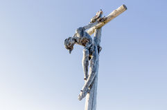 The crucifixion of Jesus Christ on top of the dolomites alps Royalty Free Stock Images