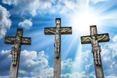 Crucifixion of Jesus Christ and the two thieves. Stock Images