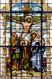 Crucifixion, Jesus died on the cross. Stained glass window in the Basilica of the Sacred Heart of Jesus in Zagreb, Croatia Stock Photos