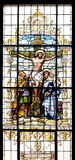 Crucifixion, Jesus died on the cross. Stained glass window in the Basilica of the Sacred Heart of Jesus in Zagreb, Croatia Stock Photography
