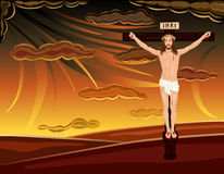 Crucifixion of Jesus on Golgotha Hills. Easter religious card with crucifixion of Jesus on Golgotha hill. Over dramatic sky. Vector illustration saved as EPS AI8 Royalty Free Stock Image