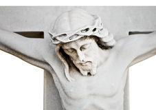 The crucifixion of Jesus isolated on white Royalty Free Stock Images