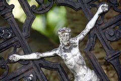 Crucifixion. Jesus crucifixion. A memorial somewhere on a graveyard Stock Photo
