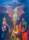 Crucifixion of Jesus. Painting of the crucifixion of Jesus Christ in Amalfi Cathedral, Italy Royalty Free Stock Photos