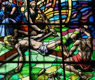 Crucifixion of Jesus - Stained Glass in Guimaraes Royalty Free Stock Photo