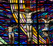 Crucifixion of Jesus - Stained Glass in Guimaraes Stock Photos