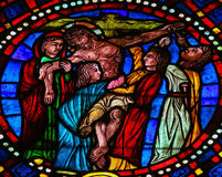 The Crucifixion of Jesus  - Stained Glass in Leon Cathedral Royalty Free Stock Photos