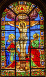Crucifixion Jesus Stained Glass Saint Louis En L'ile Church Paris France Royalty Free Stock Image