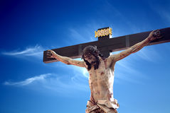 Crucifixion of Jesus. Jesus suffering and redemptive death by crucifixion are the central aspects of Christian theology concerning the doctrines of salvation and Royalty Free Stock Image