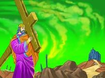 Crucifixion2 kalendarza pomysłu chrześcijańska strona ilustracja wektor