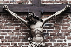 Free Crucifixion Of Jesus Christ Ancient Stone Statue Stock Image - 95759511
