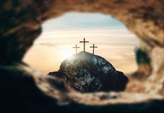 Free Crucifixion Of Jesus Christ, Three Crosses On Hill, 3d Rendering Royalty Free Stock Photos - 145020358