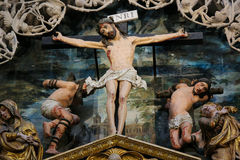 Crucifixion Scene in Burgos Cathedral Royalty Free Stock Photos