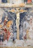 Crucifixion. By Secondo Maestro di San Zeno, fresco in the church of San Pietro Martire in Verona, Italy stock image