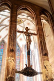 Crucifixion sigh. In gothic cathedral royalty free stock photography