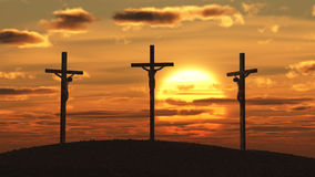 Crucifixion at sunset Royalty Free Stock Photography