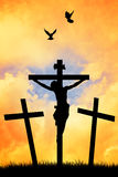 Crucifixion at sunset Royalty Free Stock Images