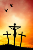 Crucifixion at sunset Stock Image
