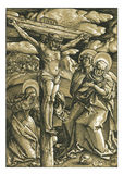 The Crucifixion Woodcut Woodblock print Stock Photo