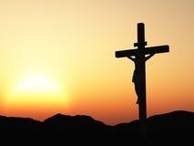 crucifixionsolnedgång Fotografering för Bildbyråer