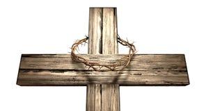 Crucifixo com uma coroa de espinhos fotos de stock royalty free