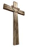 Crucifixo de madeira com a coroa de espinhos fotos de stock royalty free