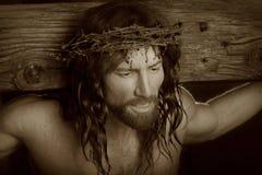 Crucifixtionportret in sepia Royalty-vrije Stock Afbeeldingen