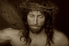 Crucifixtions-Porträt im Sepia Stockfoto
