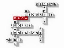 Crucigrama con concepto de la inmigración de las palabras claves de DACA stock de ilustración