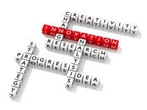 Crucigrama con concepto del negocio de las palabras claves de la innovación ilustración del vector