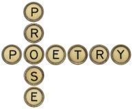 Crucigrama de la poesía y de la prosa foto de archivo libre de regalías