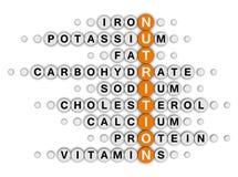 Crucigrama de los hechos de la nutrición Imagen de archivo libre de regalías