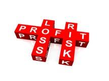 Crucigrama del beneficio, de la pérdida y del riesgo Fotos de archivo libres de regalías