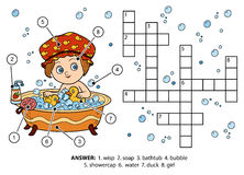 Crucigrama del color del vector La muchacha toma un baño con espuma Imagenes de archivo