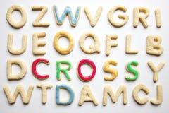 Crucigrama formado letra de la galleta Imágenes de archivo libres de regalías