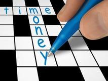 Crucigrama - tiempo y dinero Fotos de archivo libres de regalías