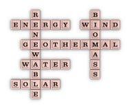 Crucigrama verde renovable de la energía Imagen de archivo libre de regalías