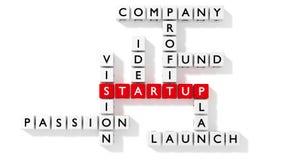Cruciverba che mostra le parole chiavi startup come dadi Immagine Stock Libera da Diritti