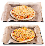 The crude and baked pizza Royalty Free Stock Photography
