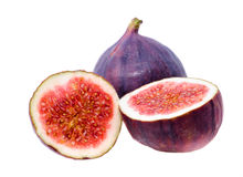 Crude fig. Some fruits of the fig, isolated on a white background Stock Photography