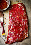 Crude flank steak ready for a grill Royalty Free Stock Image