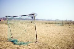 Crude football pitch. A simple soccer (football) field (pitch) in the country Stock Photos