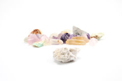 Crude gemstones semiprecious gem amethyst Royalty Free Stock Photos