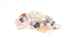 Crude gemstones semiprecious gem amethyst Stock Image