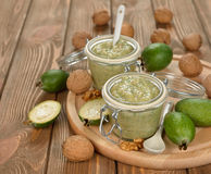 Crude jam of feijoa and walnuts Royalty Free Stock Photos