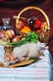 Crude meat, fruit and alcohol. Stock Photos